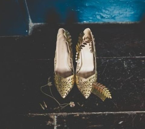 gold laser cut wedding shoes