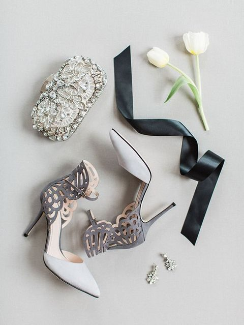 grey and white laser cut wedding shoes with ankle straps