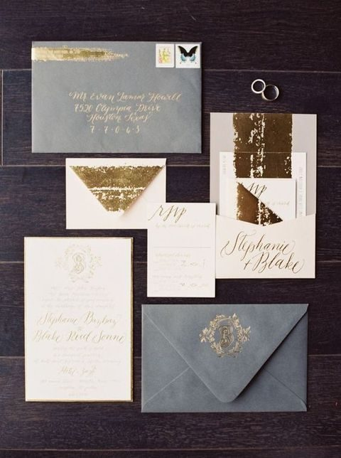 grey, white and gold leaf wedding invitation suite