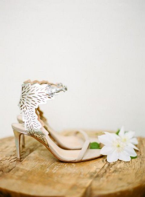 heeled wedding sandals with laser cut ankle straps