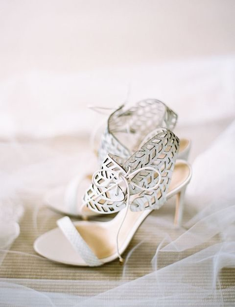 heeled wedding sandals with laser cut ankle straps with lacing