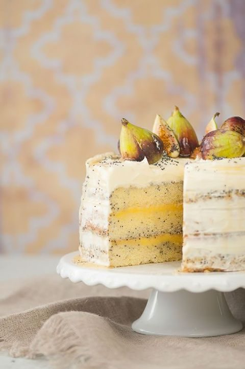 honey lemon poppy seed cake topped with figs