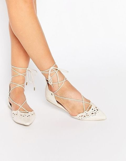 ivory laser cut wedding flats with lacing up
