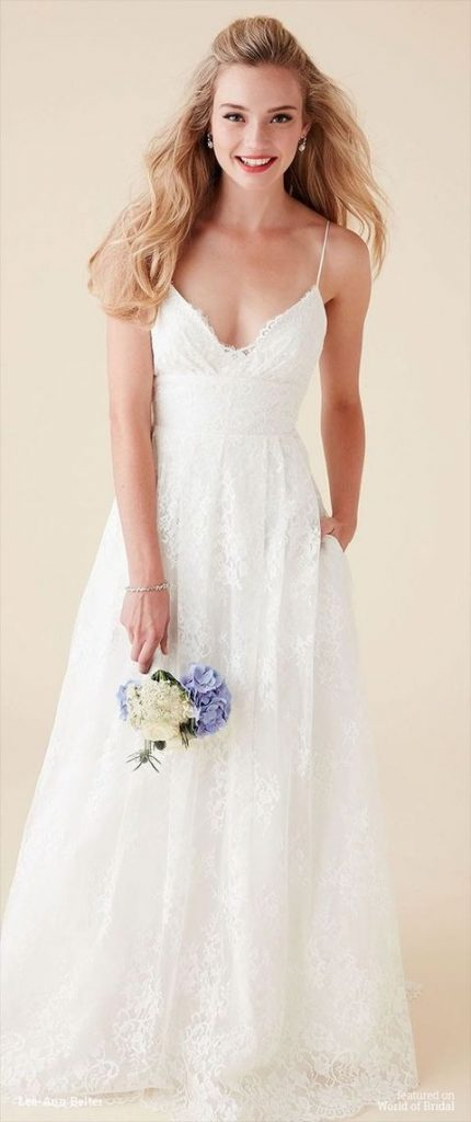 lace V-neckline spaghetti strap wedding dress with pockets