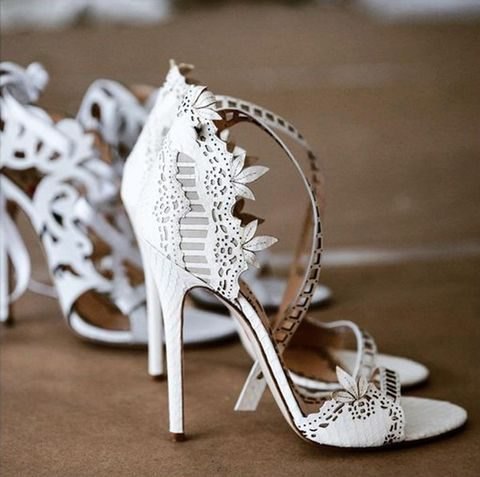 laser cut ankle strap wedding shoes