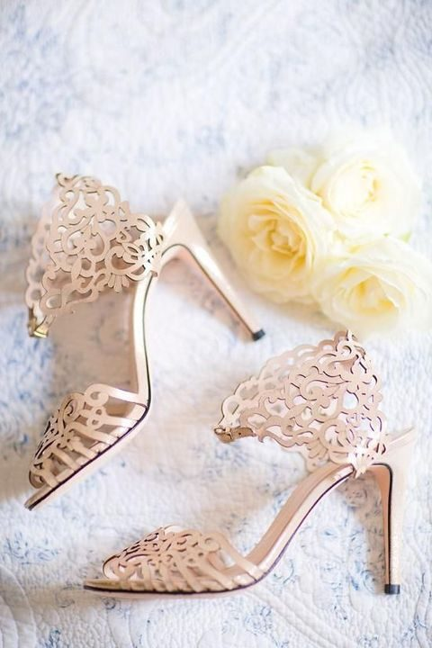 laser cut lace-inspired wedding shoes