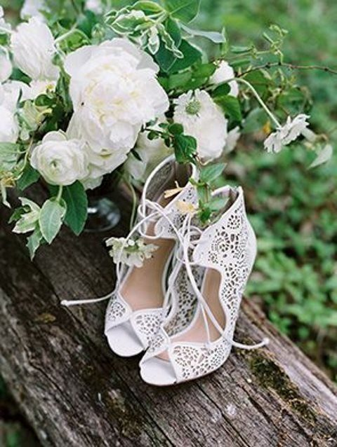 laser cut peep toe wedding shoes with lacing
