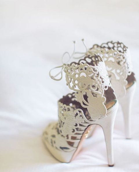laser cut suede high heels with lacing