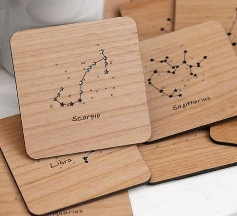 laser cut wooden coasters with constellations