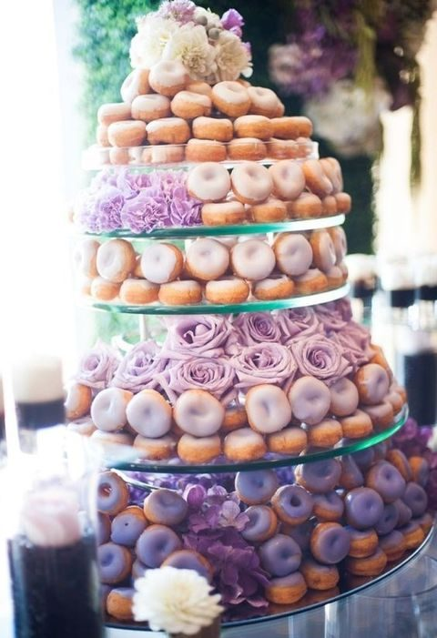 lavender and white glazed donut wedidng tower with roses