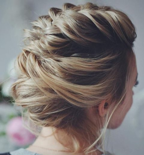 messy braided updo with hair down