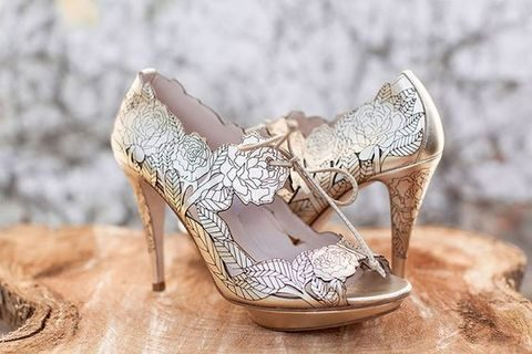 metallic floral laser cut peep toe wedding shoes with lacing