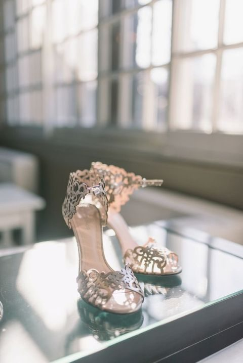 metallic laser cut ankle strap wedding shoes