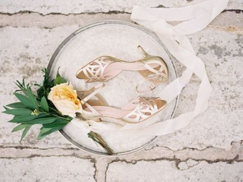 metallic laser cut wedding shoes with ankle straps
