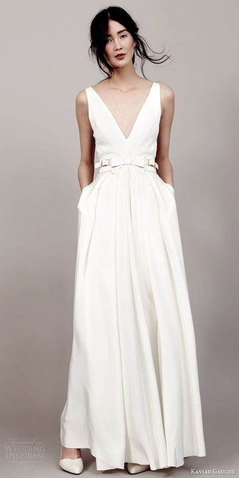 modern plunging neckline plain wedding dress with pockets and a leather belt