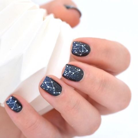 navy and blue glitter constellation wedding nails
