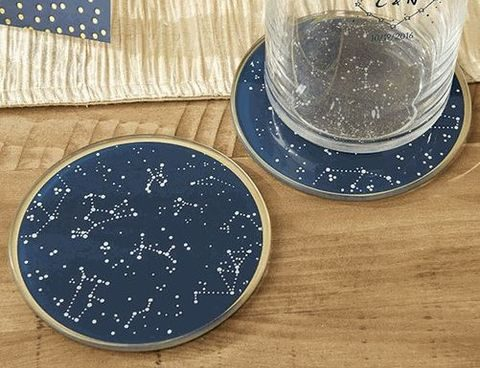 navy and gold constellation glass coasters as wedding favors