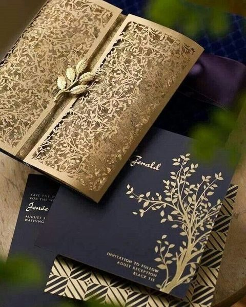 navy and gold laser cut wedding invitations