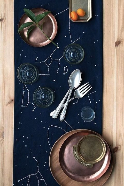 navy constellation table runner