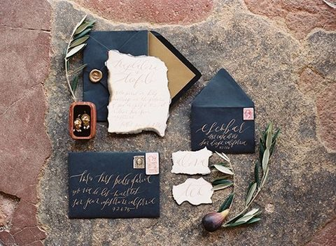 navy with metallic lining envelopes and raw edge invites and cards