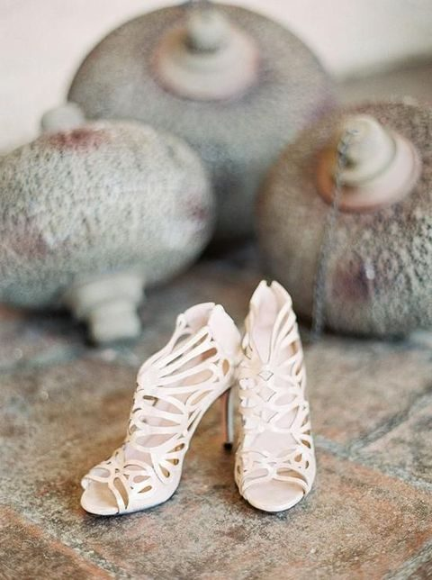 neutral laser cut wedding heels with no toes