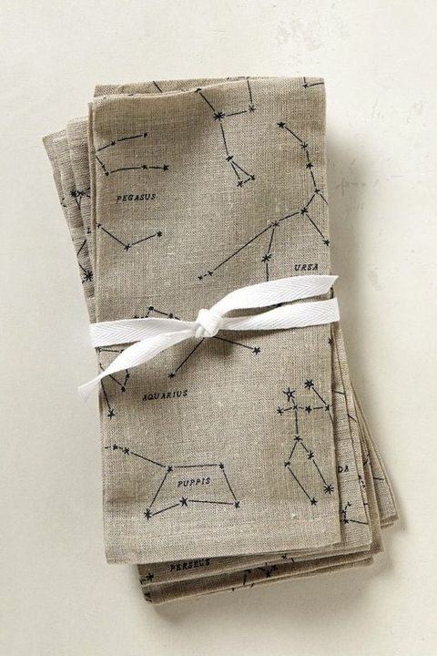 neutral napkins with constellations on them
