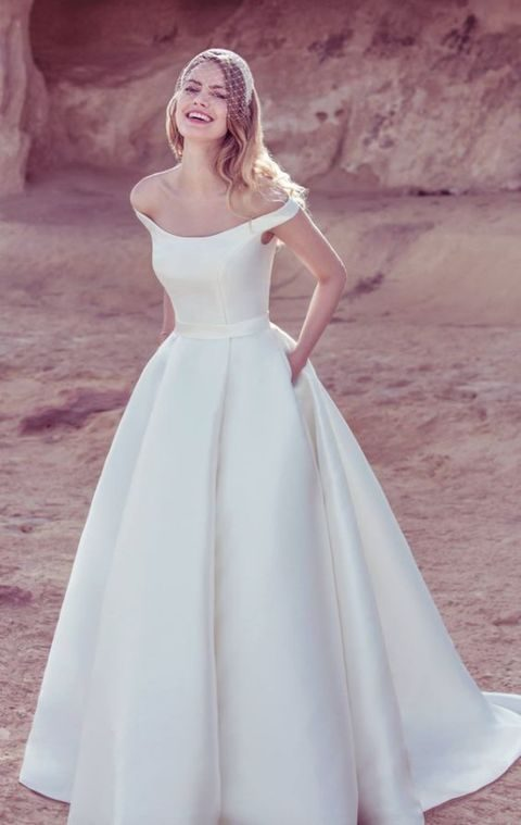 off the shoulder silk ballgown with pockets