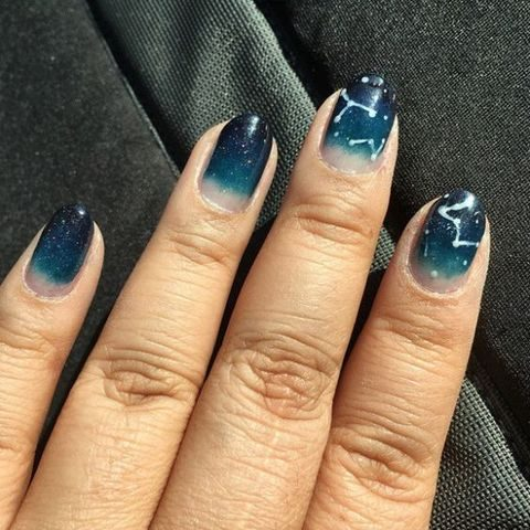 ombre blue constellation manicure