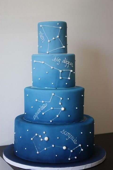 ombre blue wedding cake with white constellations