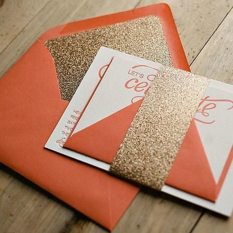 orange and gold glitter invites for a bold fall wedding
