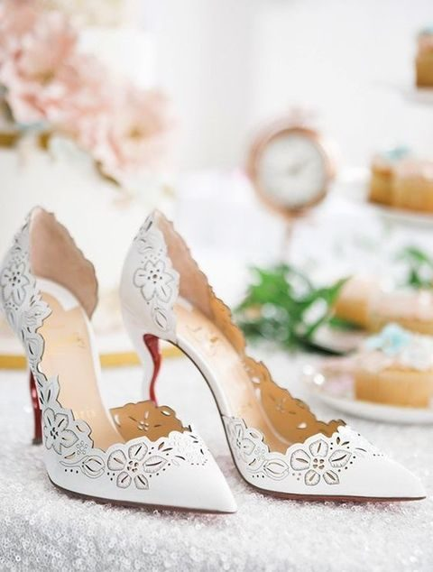 pointed floral laser cut shoes