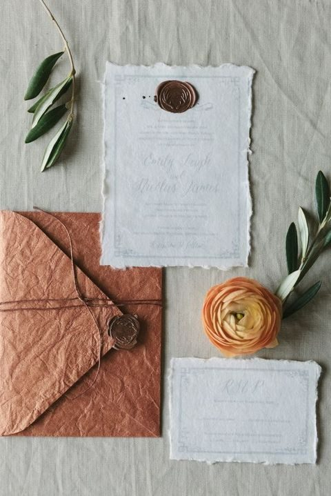 rag paper stationary - a copper envelope and creamy invites