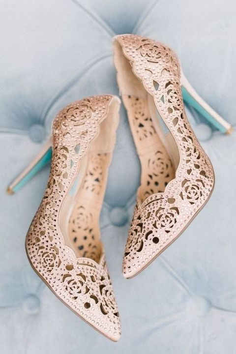 rose laser cut wedding shoes with beading