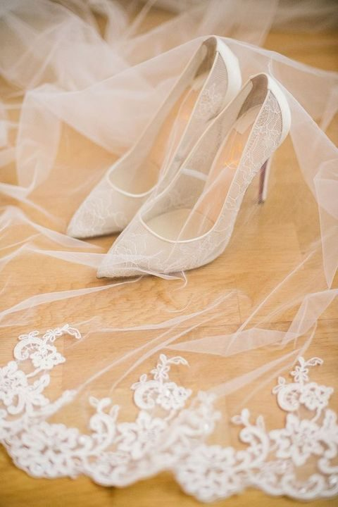 sheer white floral lace wedding shoes