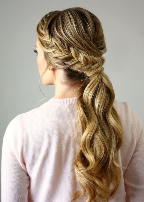 side braid wavy ponytail