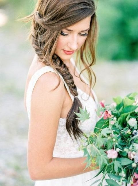 side braid with messy hair down