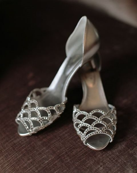 silver scallop laser cut wedding shoes with beads
