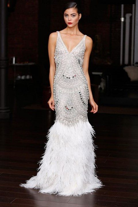 silver strap jewel wedding dress with a feather skirt