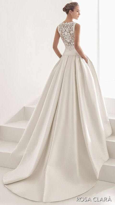 sleeveless ballgown with an illusion back, a plain skirt with pockets by Rosa Clara