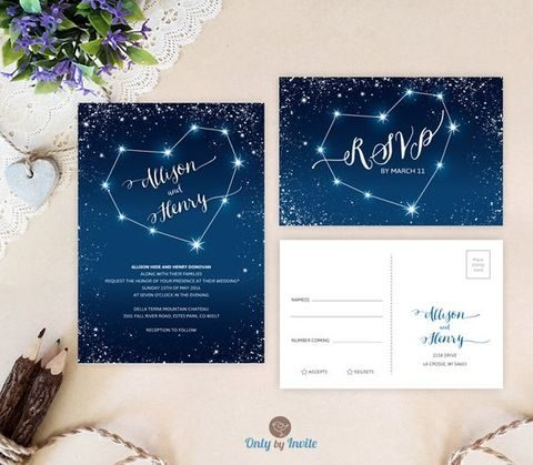 sparkling constellation wedding invitations