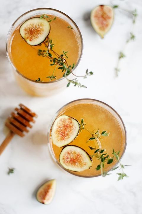 sparkling fig and honey cocktail with apple cider