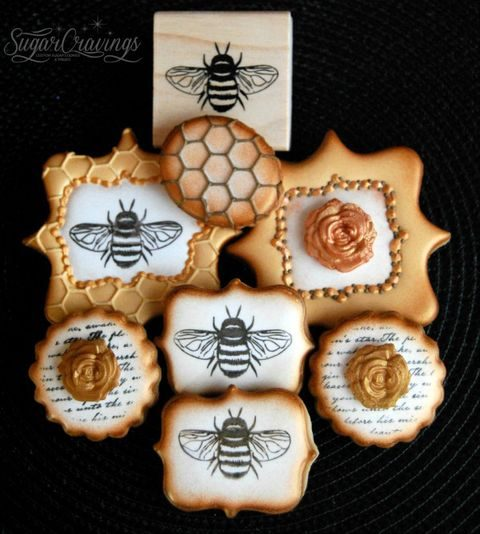 stamped bee and honey-themed wedding cookies