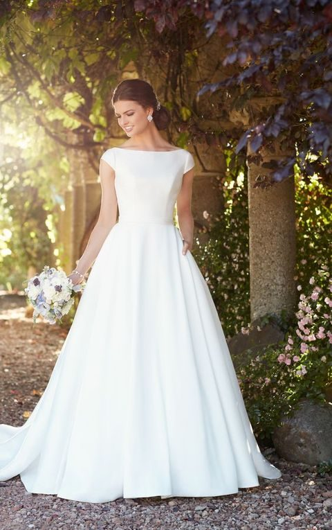 stylish modern plain ballgown with cap sleeves and pockets