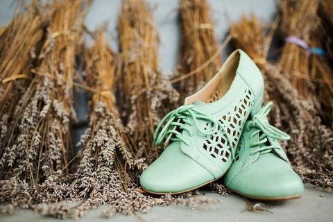vintage-inspired laser cut wedding shoes with lacing