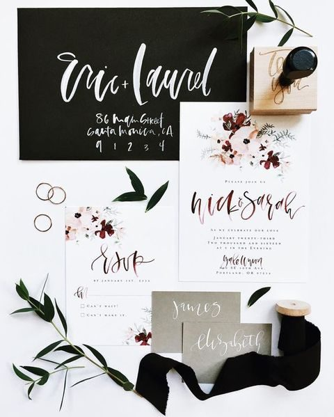 watercolor fall flower invites and dark envelopes