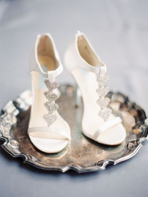 wedding shoes with silver hearts