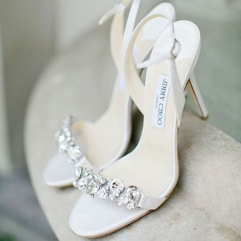 white heeled sandals with crystal decor by Jimmy Choo