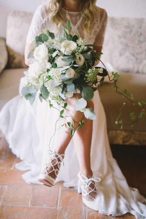 white lace up wedding heels