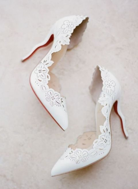 white laser cut wedding shoes with floral detailing