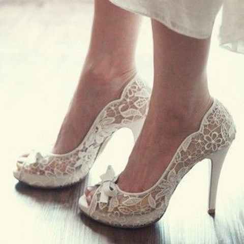 white peep toe lace wedding shoes